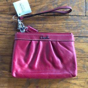 Red Coach wristlet wallet NIB